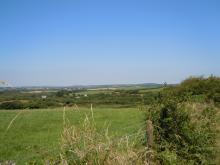view of St Austell bay from Clay Trail